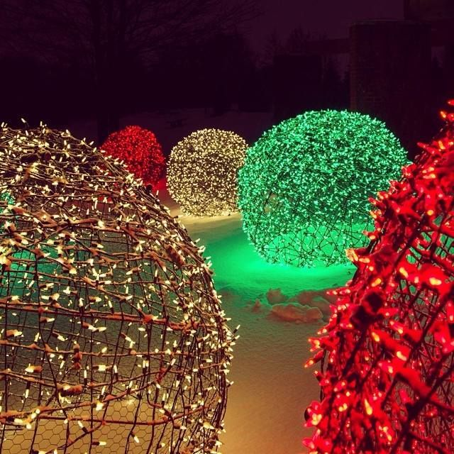 Using chicken wire and LED lights, you can create these cool light balls! Check out the how-to here: http://blog.christmaslightsetc.com/diy/how-to-make-christmas-light-balls/