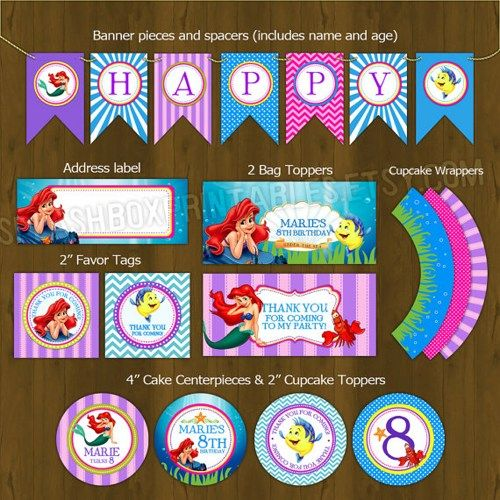 Little Mermaid Birthday Party Printables