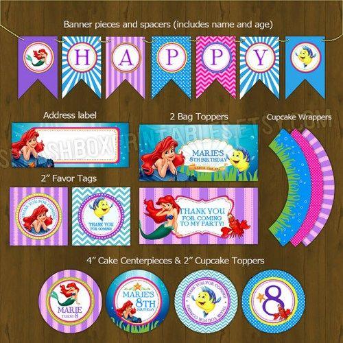 Little Mermaid Birthday Party Printables