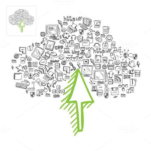 Cloud Computing Doodle Items by vladut'shop on @creativemarket