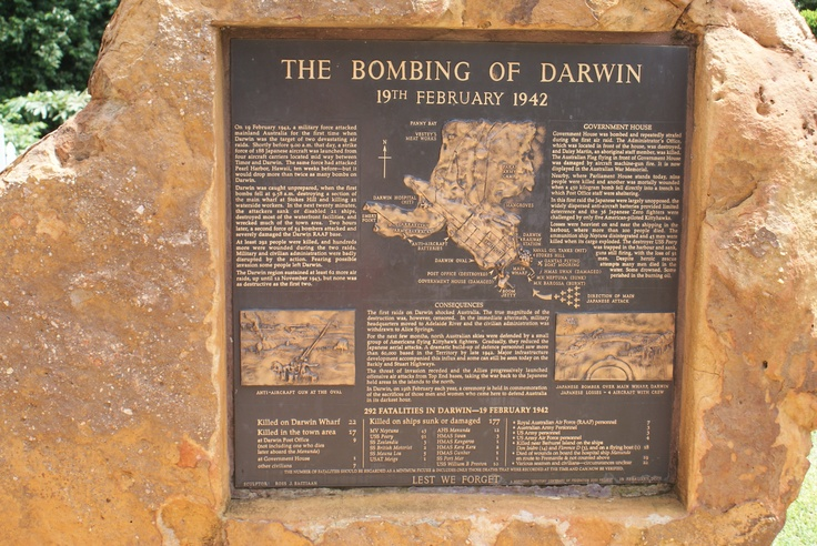 Memorial to Bombing of Darwin by Japanese