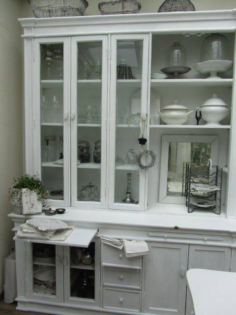 China Cabinet, Hutch, Dining Room. White, Grey, Black, Chippy,
