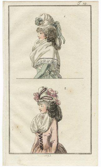Journal des Luxus und der Moden 1793 n°10 Women's hats, Hand-colored engraving