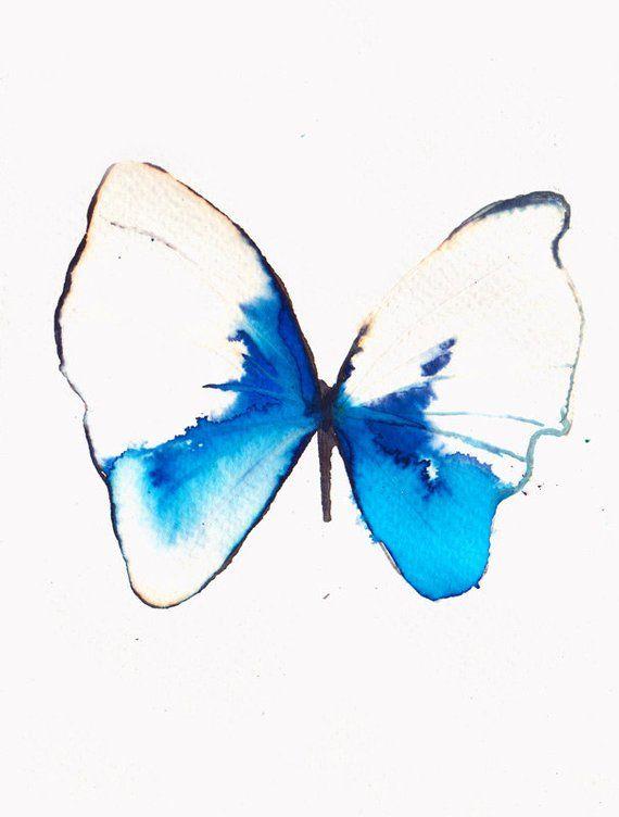 White Azure And Light Ultramarine Blue Butterfly Original Etsy