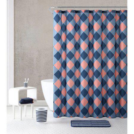 Vcny Home Multicolor 18 Piece Bathroom Shower Curtain Set Bundle Trash Bin  Bath. The 25