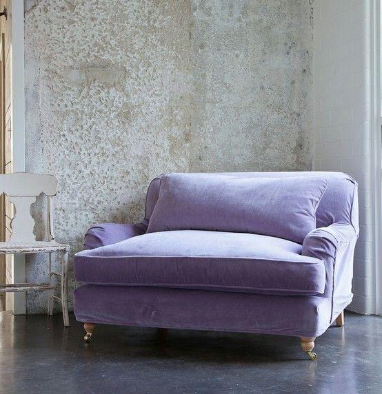 via Rachell Ashwell Shabby Chic washable velvet slipcover, washed worn look.