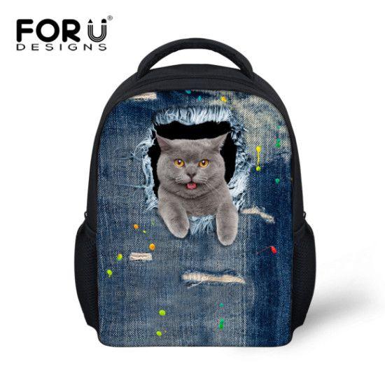 5c7f871082 FORUDESIGNS Denim Cat Dog Baby Kids School Bags