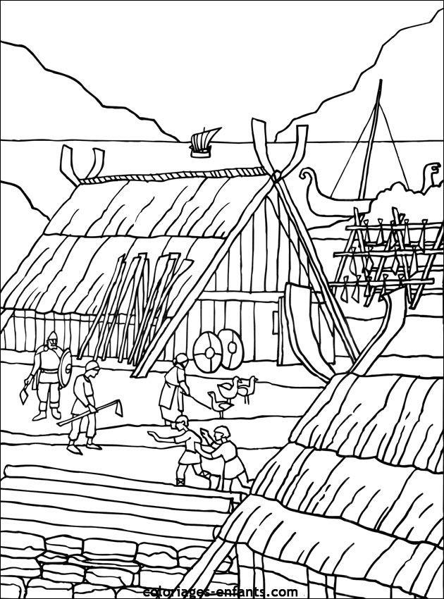 Coloriage viking art pinterest coloriage village - Village dessin ...