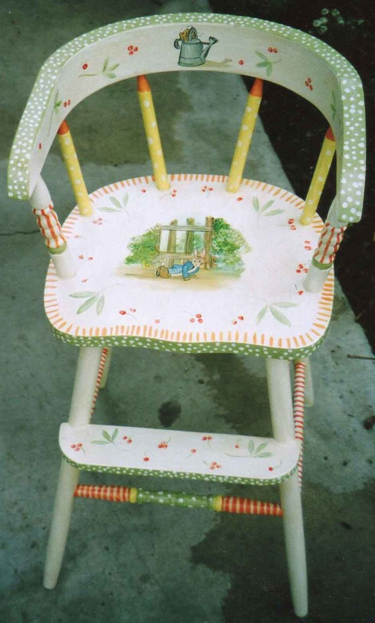 Painted wood high chair - Storybook Youth Chair Hand Painted Kids Furniture Painted High Chairs Painted Kids Furniture