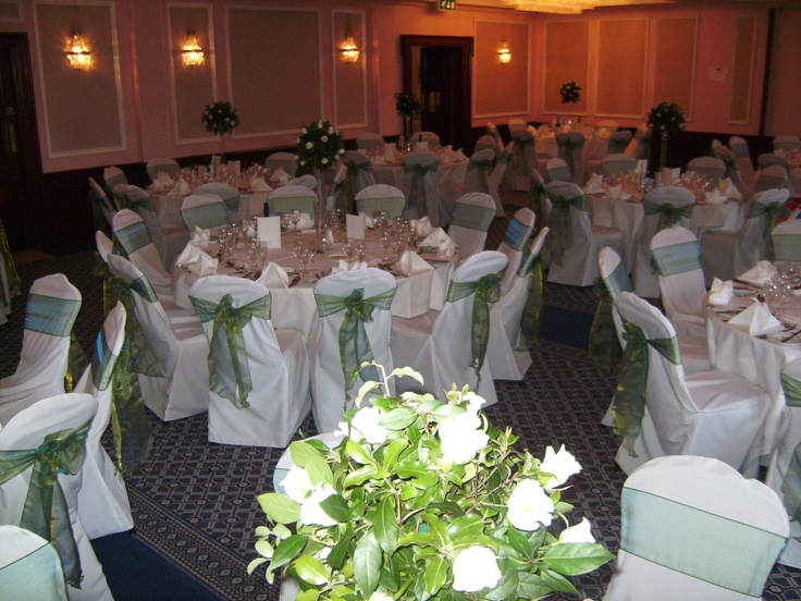 Ocean Green Organza Bows on White Chair Covers