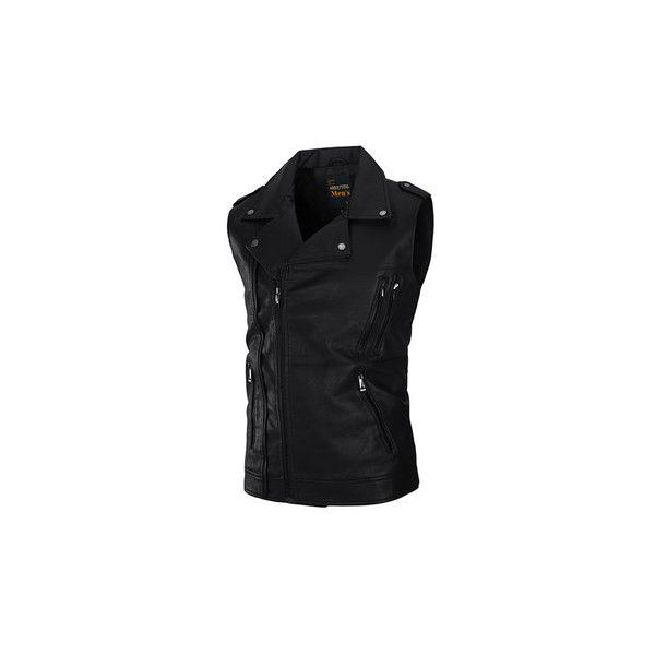 PU Leather Washed Vest (345 NOK) ❤ liked on Polyvore featuring men's fashion, men's clothing, men's outerwear, men's vests, black, men coats & jackets vests, mens sport vest, mens zipper vest, mens zip vest and mens sports vest