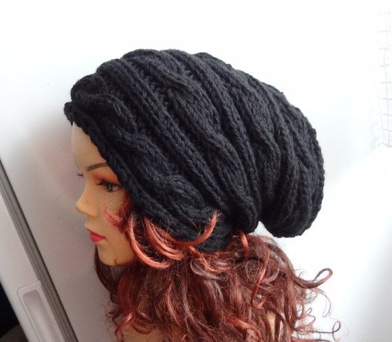 Hand Knit Hat  Slouchy Hat Beanie Knit Cable hat Slouchy by Ifonka, $28.00