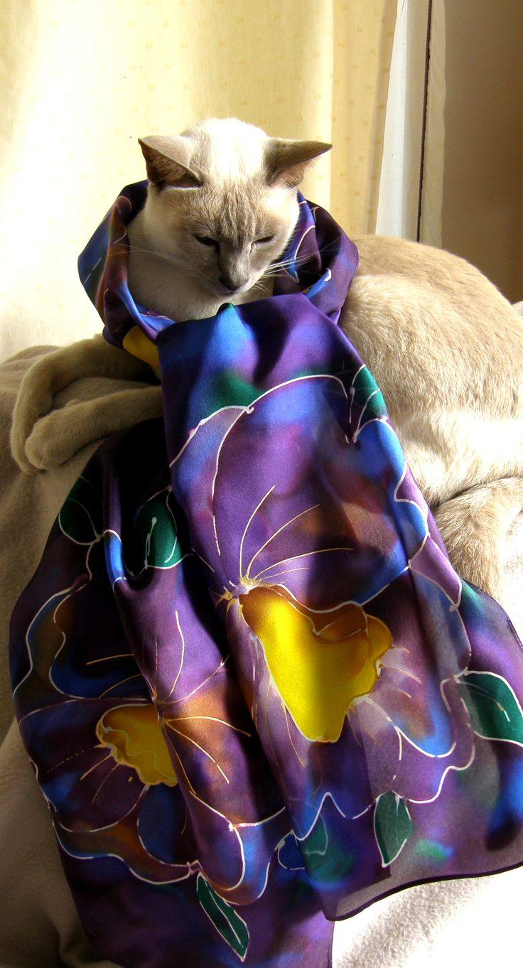 Purple Orchid Scarf with Shiraz as the model, didn't she do well!! You can find it on www.satherleysilk... an ideal gift for Mums on Mother's Day to make her feel special and look good too!!.