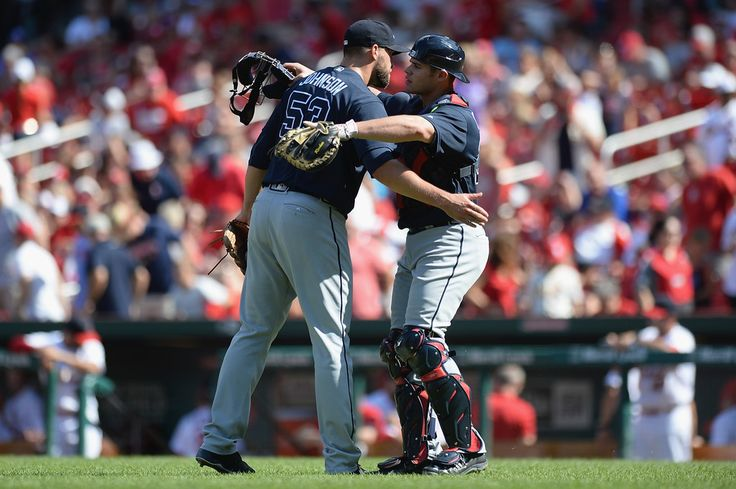ST. LOUIS, MO - AUGUST 7: Jim Johnson #53 and Anthony Recker #20 of the Atlanta Braves celebrate after defeating the St. Louis Cardinals 6-3 at Busch Stadium on August 7, 2016 in St. Louis, Missouri. (Photo by Michael B. Thomas/Getty Images)
