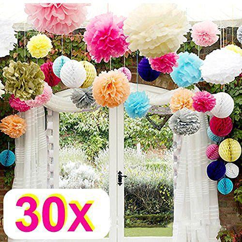Rzctukltd 30 Mix Wedding decorations tissue paper pompoms... https://www.amazon.co.uk/dp/B012IERE4K/ref=cm_sw_r_pi_dp_x_J7u1ybX61P9MD