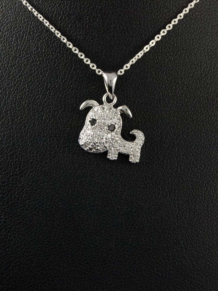 Silver pendant puppy.  Stříbrný přívěsek 925 punc, zirkon, rhodiovaný, design pejsek. 53-701-6284
