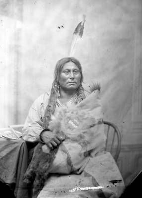Gall, Dakota Chief, seated, holding fan-shaped object, 3/4 length :: Photographs - Western History