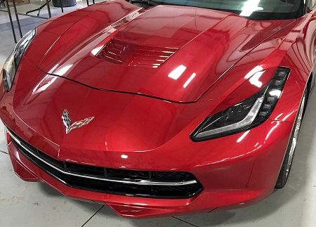 C7 Corvette Painted Eyelid Headlight Covers  Shown in the picture above with eyelid on driver side and stock look on the passenger side. This C7 Corvette Stingray painted body color headlight eyelid package is a great way to give your Stingray a more aggressive look.