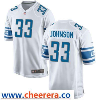 dbf423986 Men s Detroit Lions  33 Kerryon Johnson White Road Stitched NFL Nike Game  Jersey