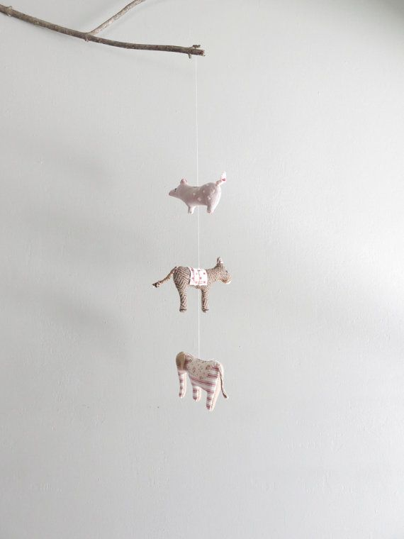 handmade animal mobile / fabric animal hanging by ohalbatross, $78.00