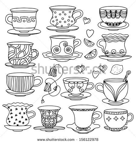 Teacup and saucer outline Icons | Free Download