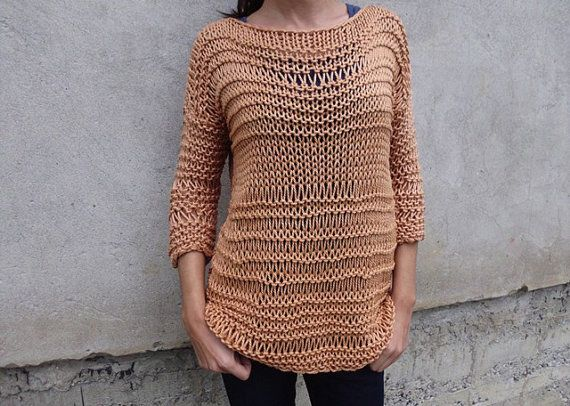 Caramel sweater / chunky cotton sweater/ handknit sweater/