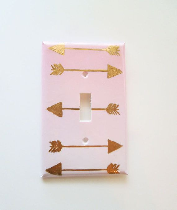 Tribal Arrows Switchplate Pink Ombre and Gold by LilysNurseryShop