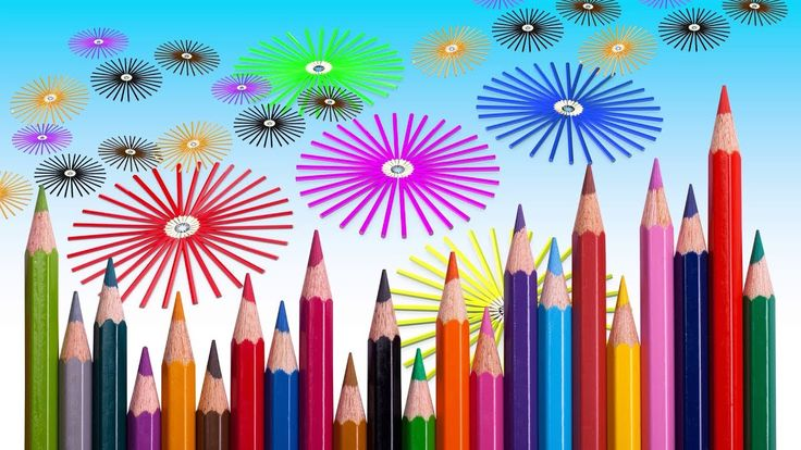 Learn Colors With 3D Colored Pencils Circle  For Kids, Children Toddlers...