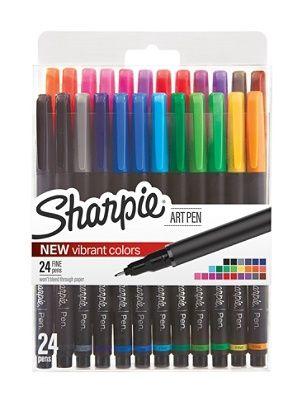 sharpie porous art pens fine point black barrel assorted ink colors
