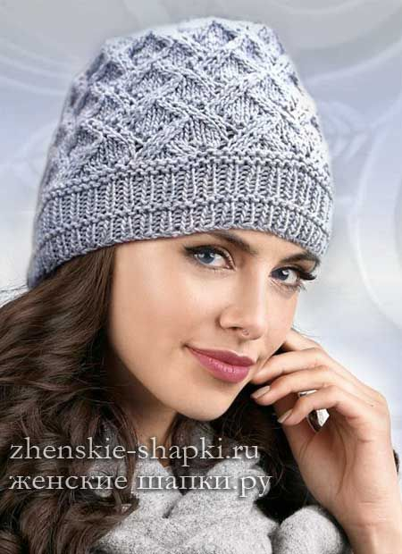 женская шапка спицами описание вязание Knitted Hats Crochet