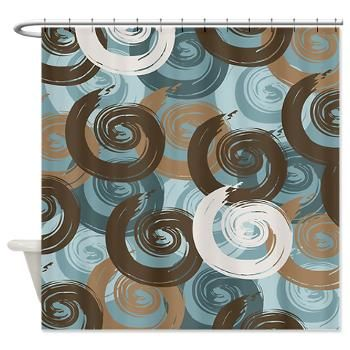 Amazing Abstract Curls Teal Brown Shower Curtain