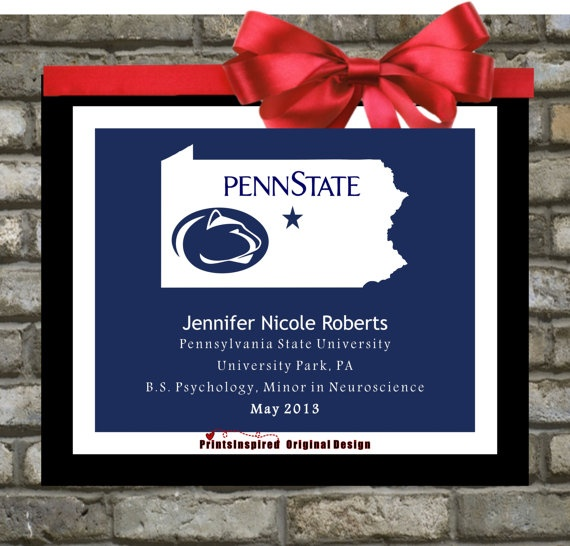 Graduation Gift For Him or For Her : Class of 2013 - Personalized College University - Custom Announcement. Decoration Unique Alumni Mascot Art.  Customized map with mascot, name, school, location, symbol, fraternity, sorority, dates, degree, honors. Available for any: State, Country, Province, Island on Globe! $19.00