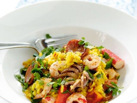 Spanish paella with chorizo and skaldjursmix Recipe Image - All About Food