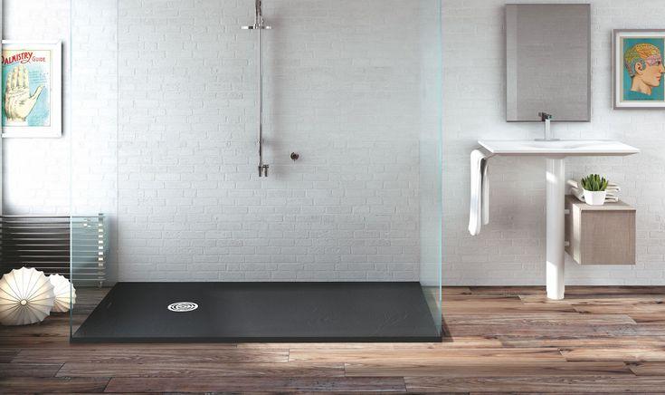Inloopdouche met zwarte douchevloer van composiet - MC Bath via Burgmans Sanitair