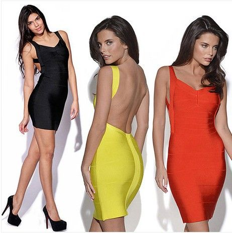 Spider red front legs yellow backless dress