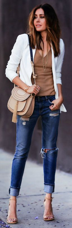 Boyfriend jeans + must have + comfy fit + ultra relaxed vibe + Erica Hoida + super cool + ready for the day + upturned boyfriend jeans + simple V neck top + a white blazer.   Jacket: Theory, Top: Bailey 44, Jeans: Rag & Bone, Shoes: Stuart Weitzman, Bag: Chloe.