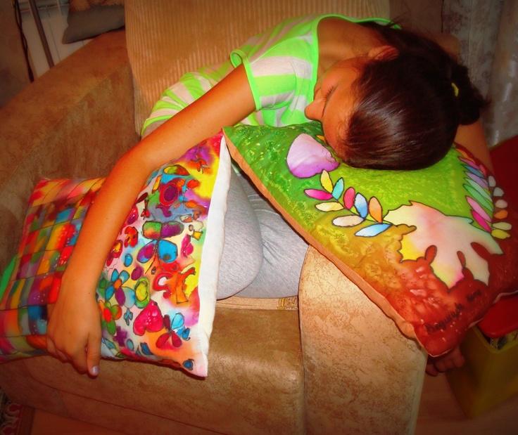 pillows, batik, made by my daughter