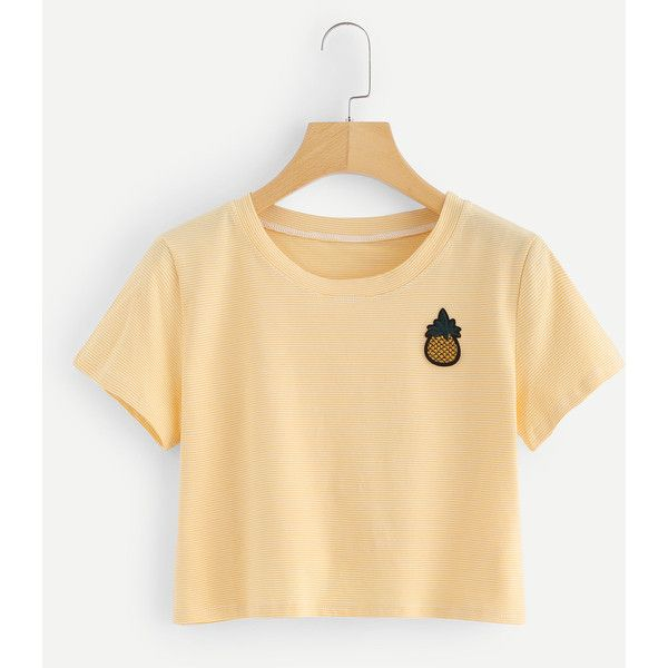 Pineapple Embroidered Striped Crop Tee ❤ liked on Polyvore featuring tops, t-shirts, beige crop top, stripe top, crop t shirt, stripe tee and crop tops
