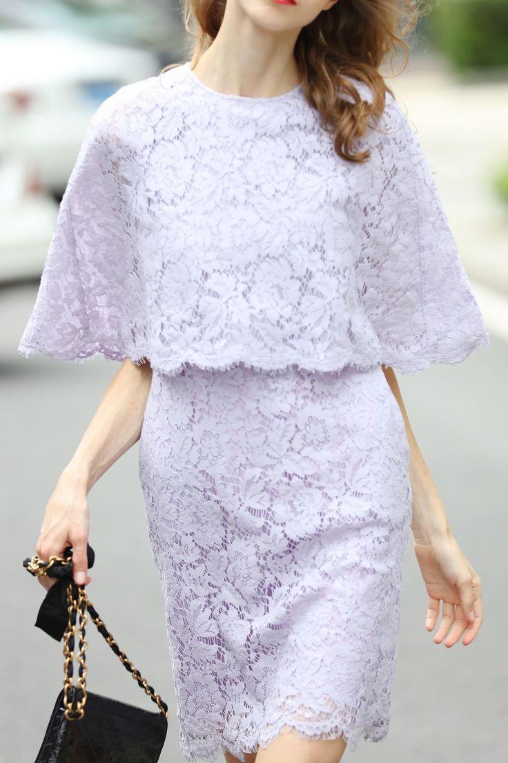 Backless Mini Lace Cape Dress