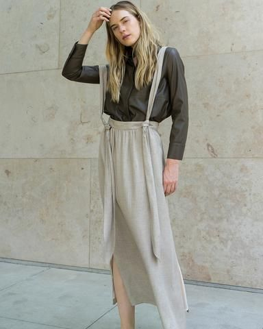 RITUAL - Long skirt - Stone melange