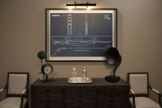 Golden Gate Bridge blueprint : Vintage San by FirstClassDesignCo