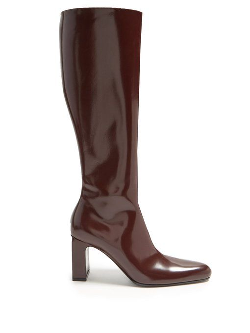 a0bf2aee21d Block-heel knee-high leather boots