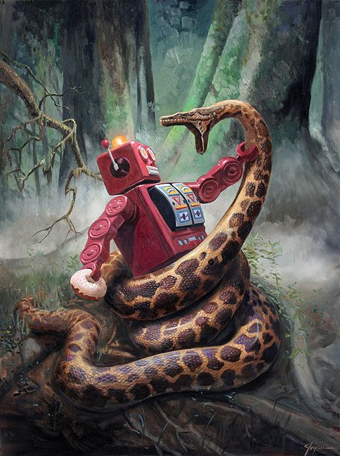 SnakefightSM: Eric Joyner, Robots, Jungle, Illustration, Artist, Painting