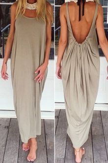 Solid Color Backless Maxi Sundress