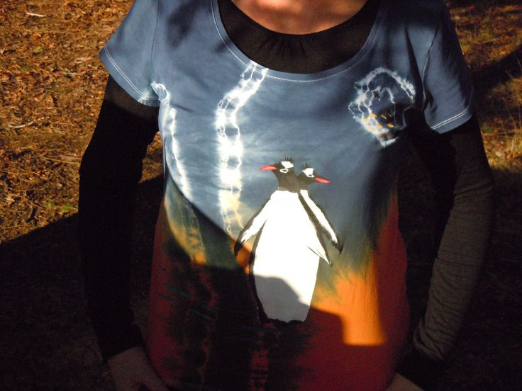 Polar Penguins, i made this  Handprinted batik t-shirt. ONLY ONE Art to wear