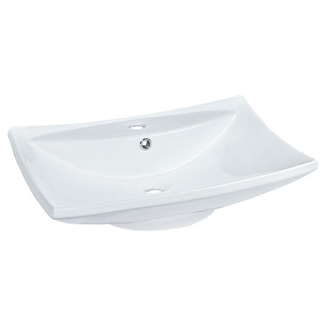 LUXO MARBRE - Vasque rectangulaire en porcelaine, blanc   Réno-Dépôt