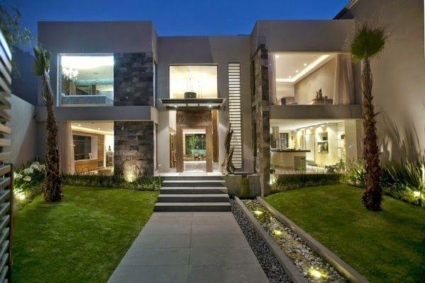 Fachadas de casas modernas com paisagismo e ilumina o - Entradas casas modernas ...
