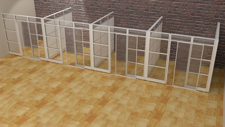 Designer Half Glass Office Demountable Walls Room Dividers Cubicle Panels Modular Office Cubicles 9'Lx9'Wx8'H (4 Units)