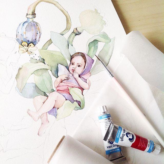 Малышка☺️✨ #misha_illustration#illustration#inspiration#watercolor#watercolour#aquarelle#waterblog#art#artist#watercolorpainting#drawing#painting#botanical#botanicalart#kids#иллюстрация#акварель#artgallery#arts_help#art_we_inspire#topcreator#artwork