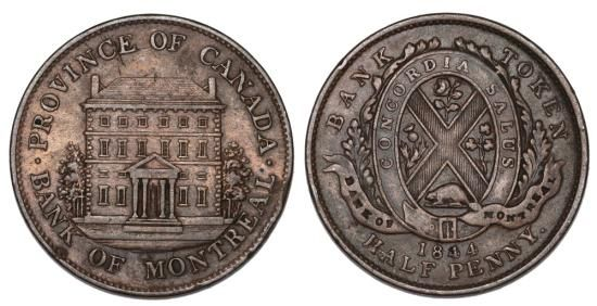 CANADA. BANK OF MONTREAL TOKEN. CU HALF PENNY 1844. XF+ Country: Canada Token: Bank of Montreal  Denomination: Half penny Composition: Cu Weight: 9.2 gm Date: 1844 Grade: XF+